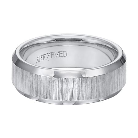 Wedding Band With Vertical Satin Finish And Beveled Edges