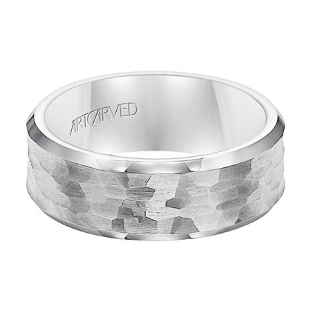 Hammered Brushed Finish And Beveled Edge Wedding Band