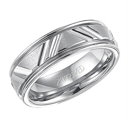 Wedding Band With Parallel Cuts Brushed Finish And Bright Stepped Edge