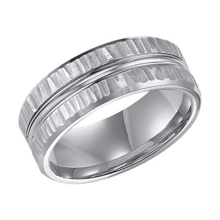 Wedding Band With Unique Etched And Brushed Texture Design