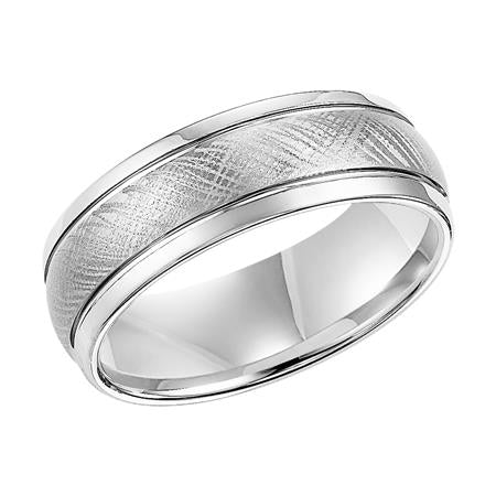 Crystalline Brushed Finish Domed Wedding Band