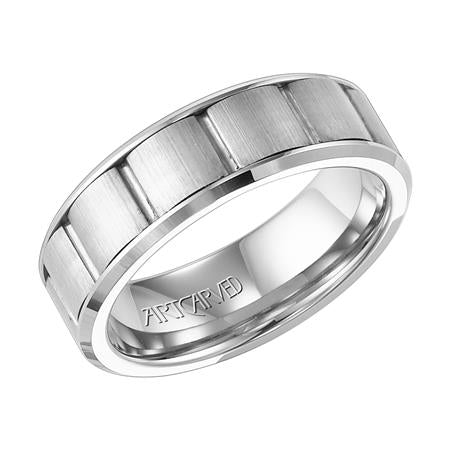 Wedding Band With Vertical Segments Brushed Finish And Beveled Edge