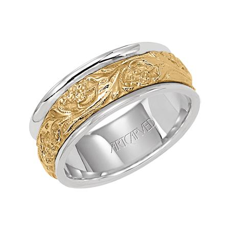 Two Tone Engraved Wedding Band With Rounded Sides