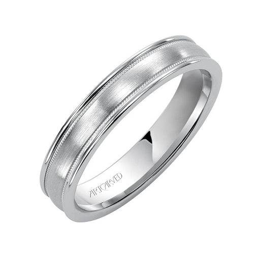 Pendleton Wedding Band With Brushed Finish Milgrain And Rolled Edges