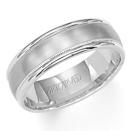 Brushed Finish Milgrain And Rolled Edge Wedding Band