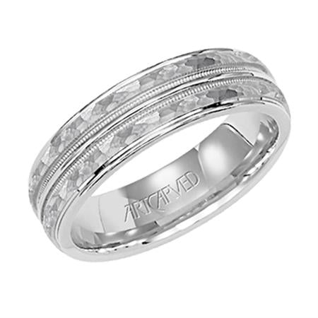 Hammered Wedding Band With Polished Edges And Center