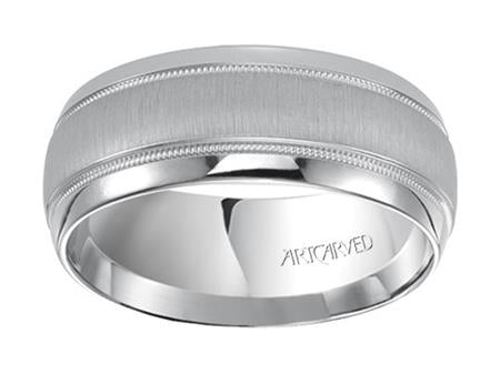 Addison Wedding Band With Brushed Finish Milgrain & Rolled Edges