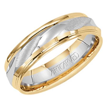 Wedding Band With Engraved Design Bright And Textured Finishes