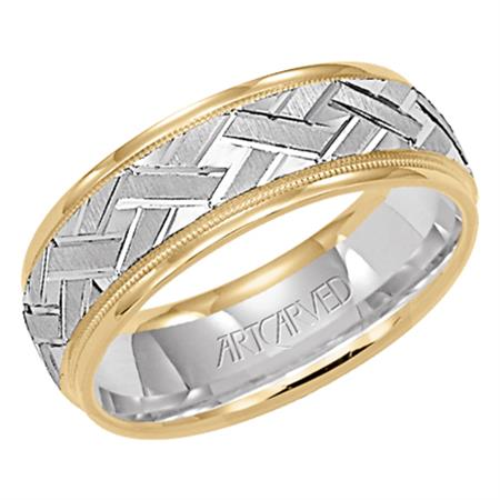 Two Tone Basket Weave Wedding Band With Milgrain Edge