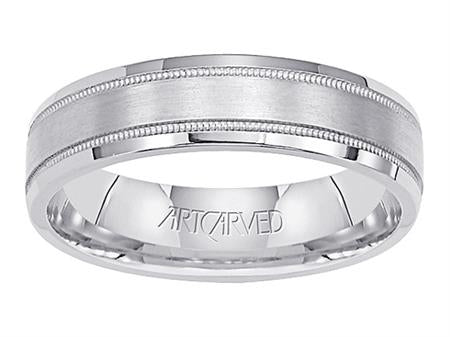 Comfort Fit Wedding Band With Milgrain Brushed Finish And Flat Edges