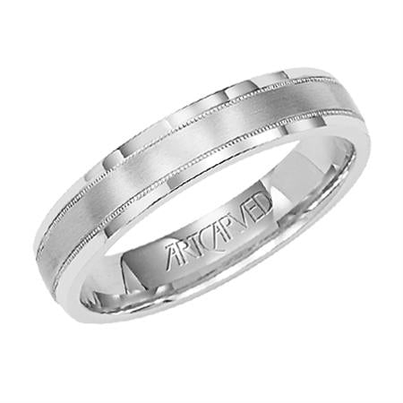 Wedding Band With Milgrain Brushed Finish And Flat Edges