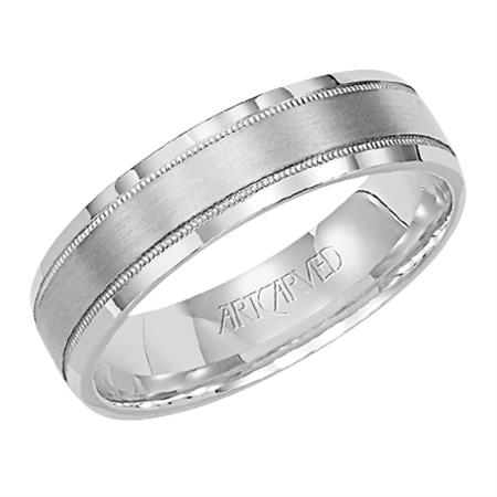 Comfort Fit Wedding Band With Milgrain Brushed Finish & Flat Edges