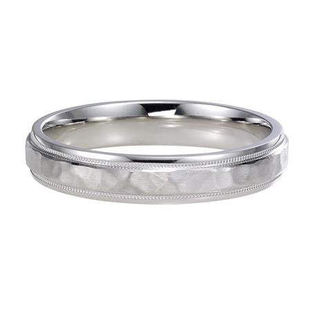 Comfort Fit Wedding Band With Hammered Satin Finish And Rolled Edges