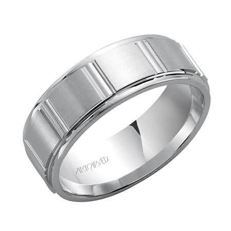 7mm Geometric Design Wedding Band