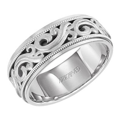 Comfort Fit Wedding Band With Intricate Engraved Scroll Design Milgr