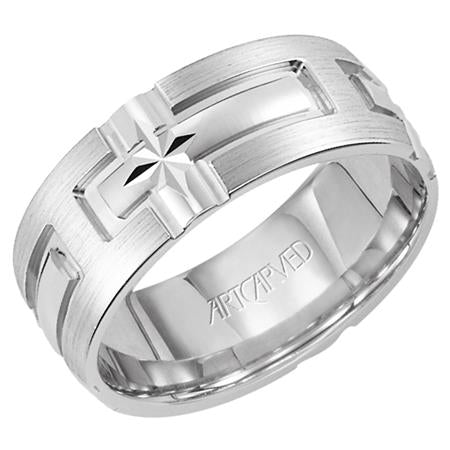 Comfort Fit Wedding Band With Engraved Cross Design