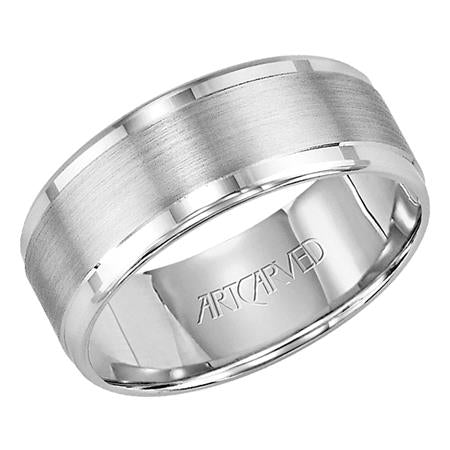 Wedding Band With Horizontal Brushed Finish And Bright Rolled Edges