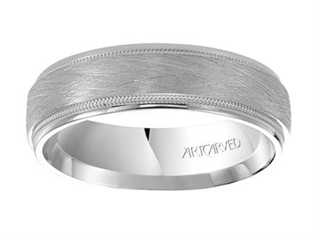 Wedding Band With Crystalline Finish Milgrain And Rolled Edges