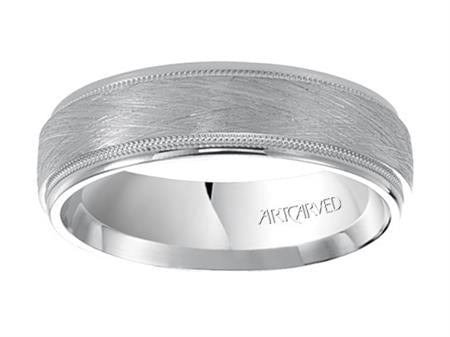 Crystalline Finish Wedding Band With Milgrain Edges