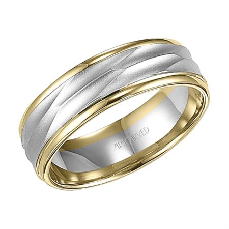Two Tone Etched Wedding Band