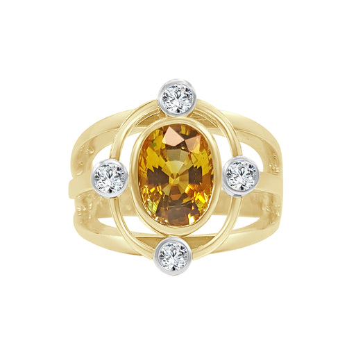 Oval Yellow Sapphire And Diamond Fancy Ring