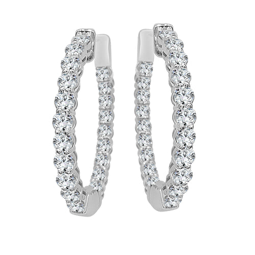 Oval Inside Out 2.90 Carat Diamond Hoop Earrings