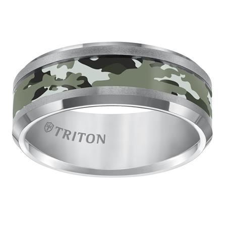 Bevel Edge And Camo Inlay Wedding Band