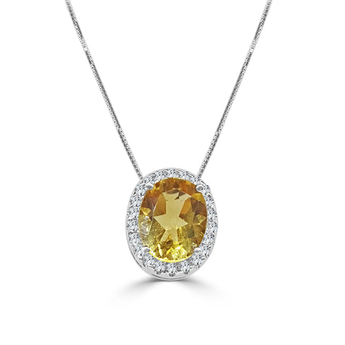 Oval 2.50 Carat Citrine With Diamond Halo Necklace