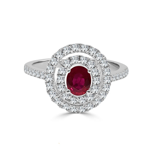Oval Ruby And Double Diamond Halo With Diamond Band