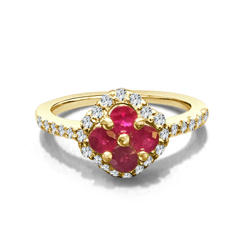 Floral Ruby And Diamond Ring