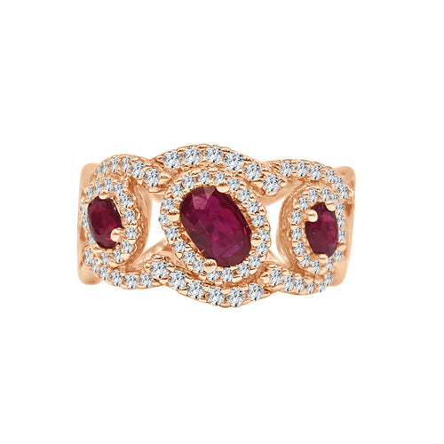Three Stone Ruby And Diamond Fancy Wide Ring