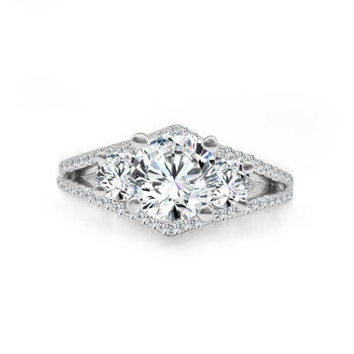 Diamond Three Stone Ring With Diamond Shaped Split Shank