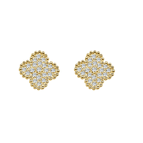 Diamond Clover And Milgrain Stud Earrings