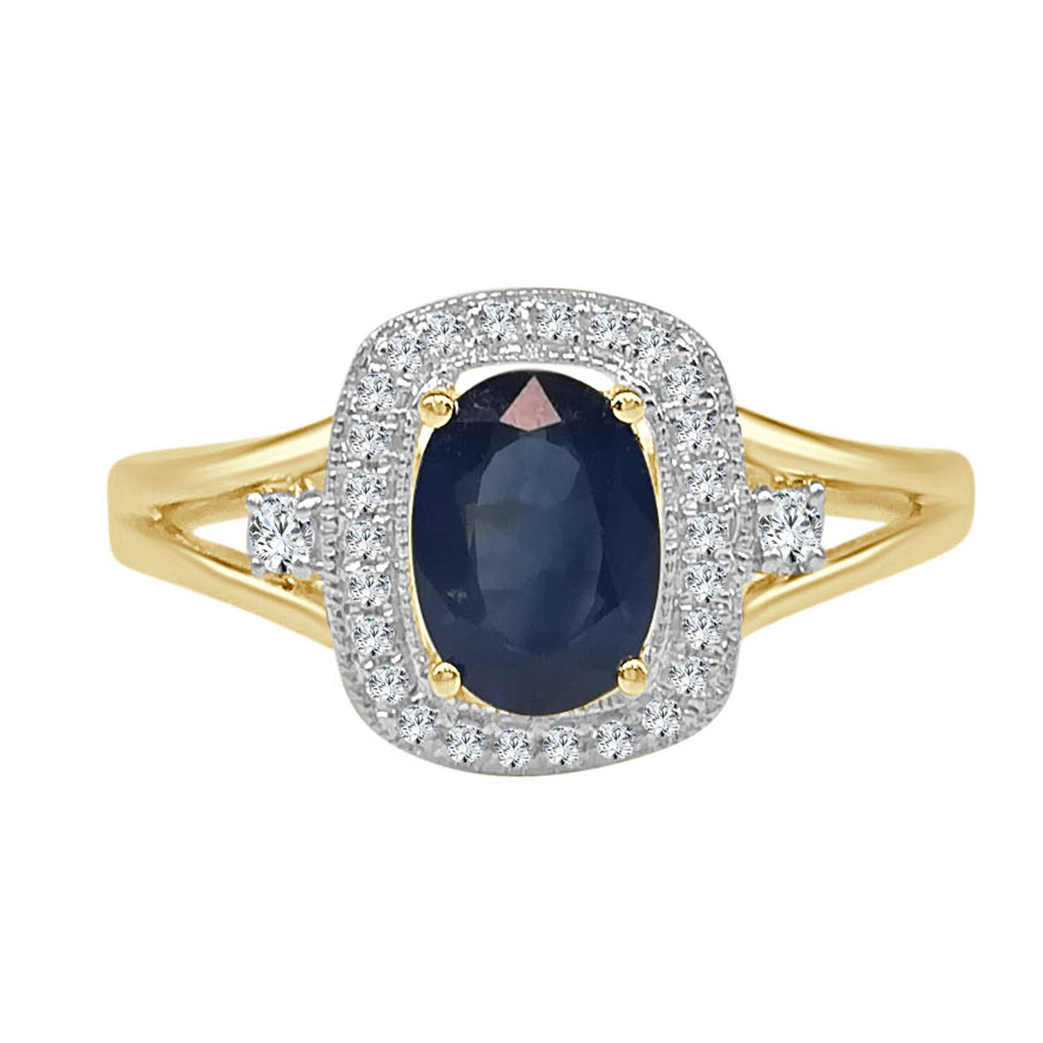 Sapphire And Diamond Cushion Halo With Split Shank Ring