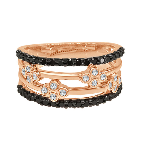 Black and White Diamond Rose Gold Fancy Floral Band