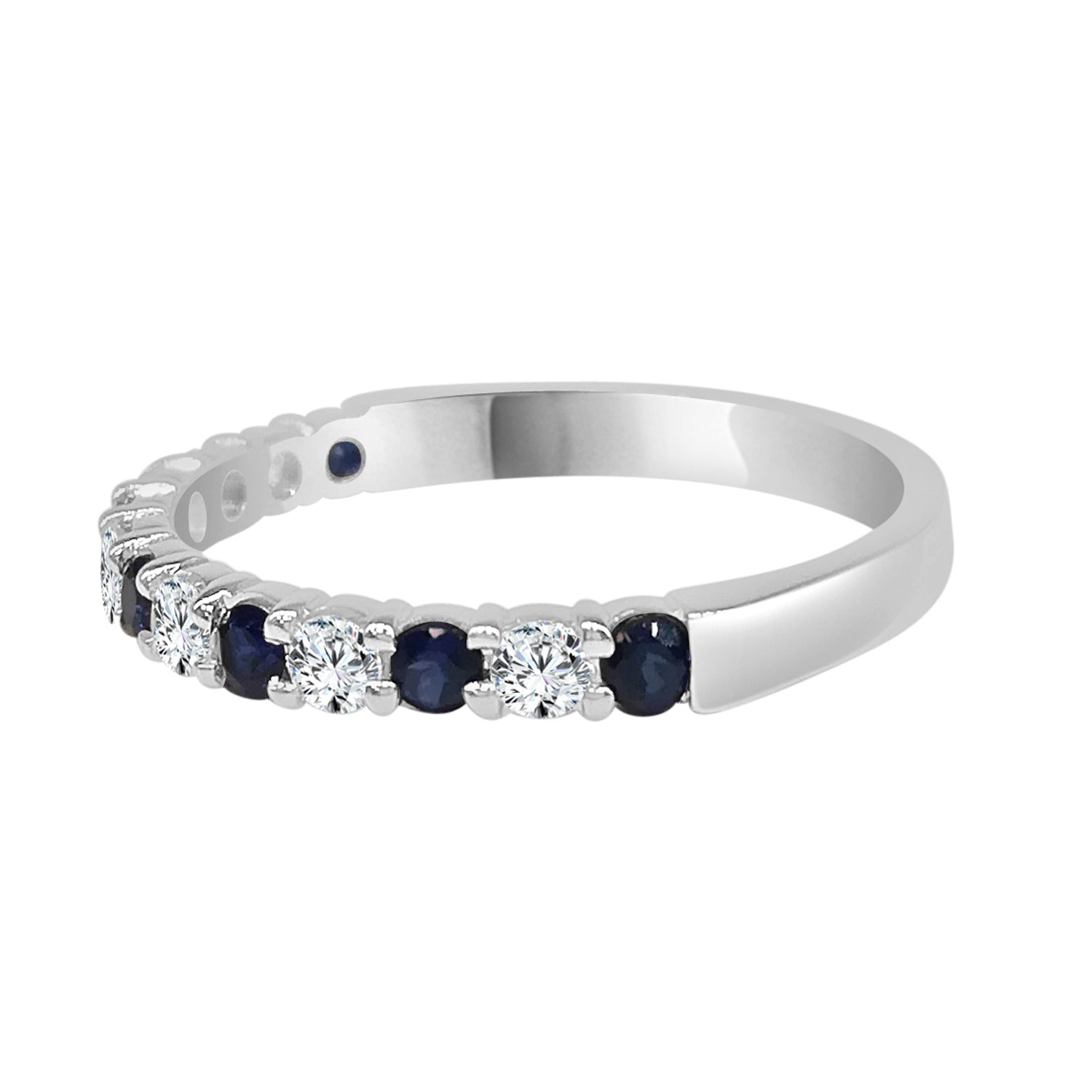 Sapphire And Diamond Prong Set Band