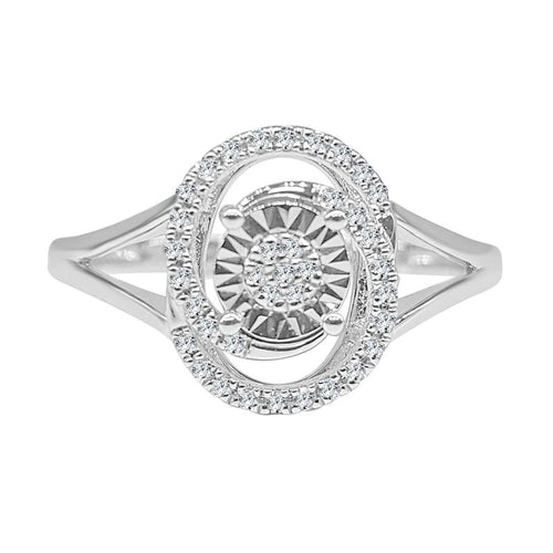 Miracle Set Diamond Ring With Swirl Oval Band