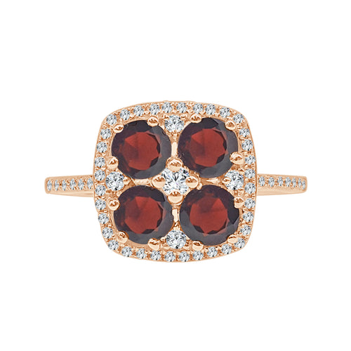 Garnet And Diamond Cushion Fancy Ring With Diamond Band