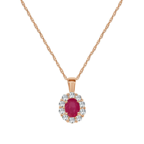 Rose Gold Ruby And Diamond Oval Halo Pendant
