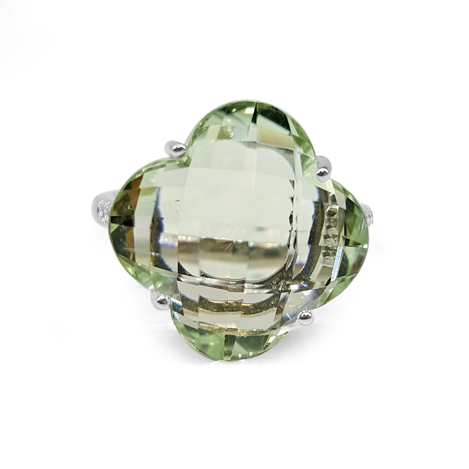 Green Amethyst Clover And Diamond Ring