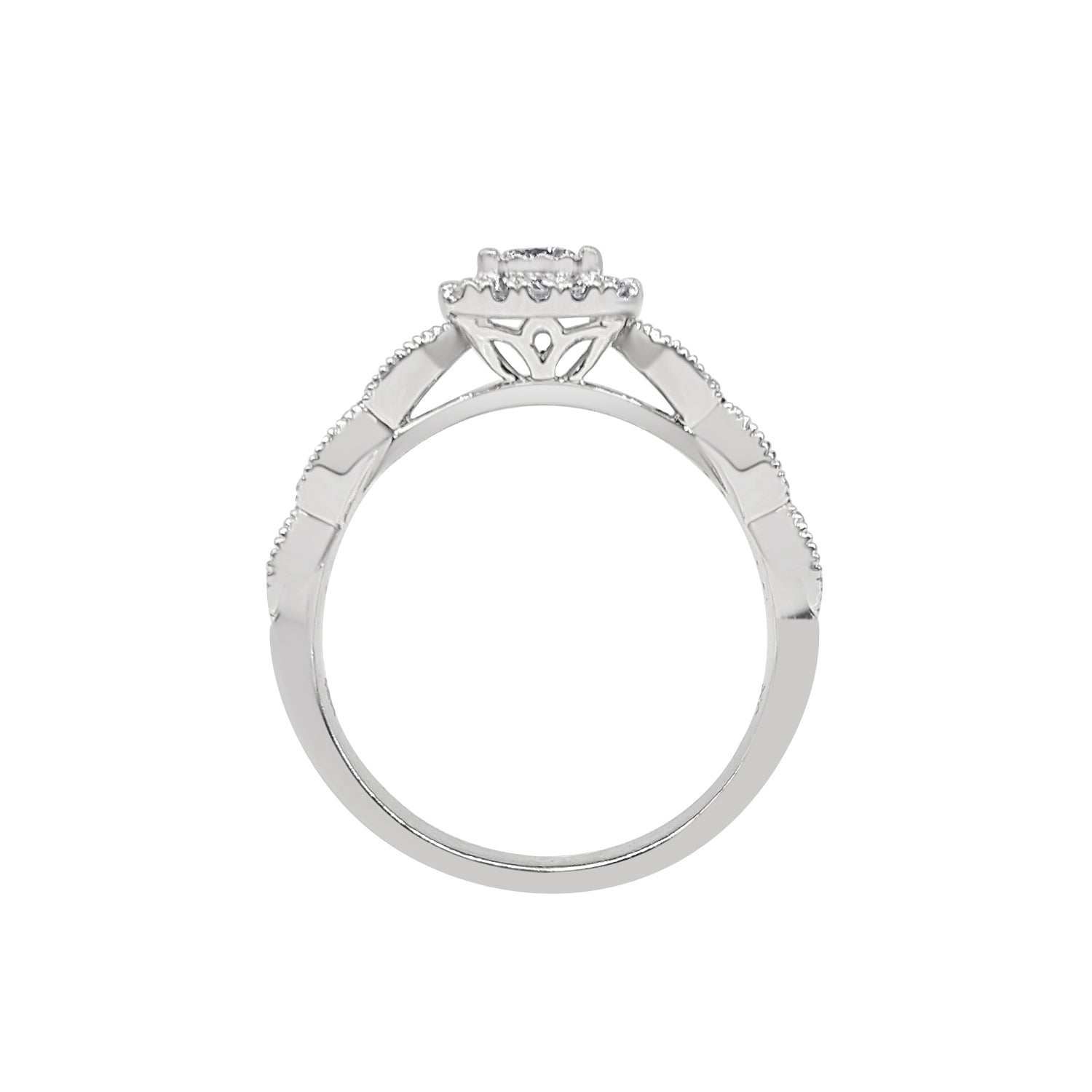 Miracle Set Diamond With Cushion Cut Halo And Antique Style Band