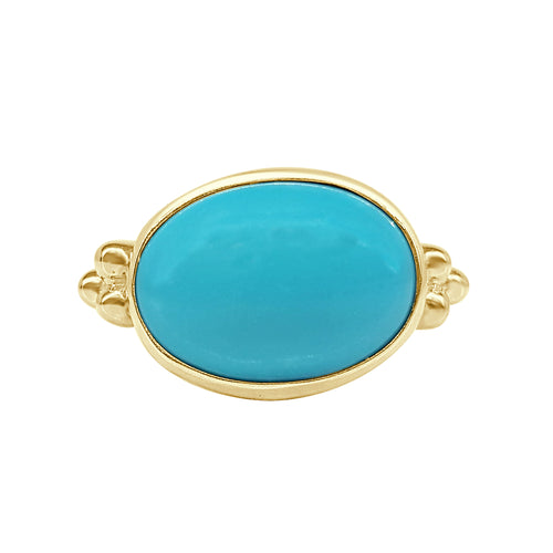 Natural Oval Turquoise Polished Ring