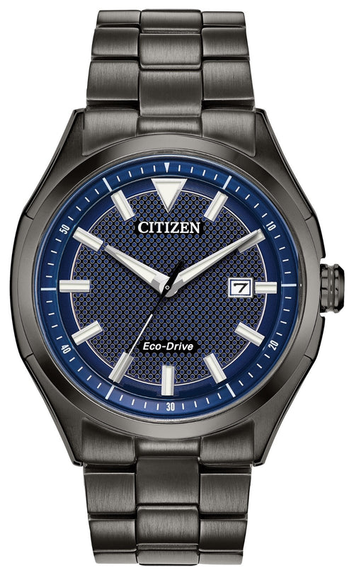 Citizen Mens Ecodrive Black Steel Watch With Blue Dial