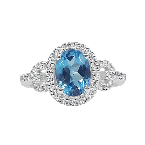 Oval Blue Topaz Ring With Diamond Halo And Fancy Band