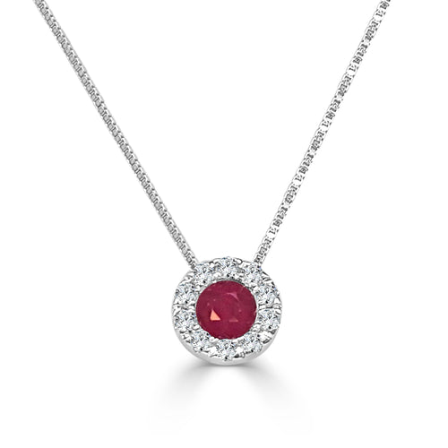 Ruby With Diamond Halo Necklace