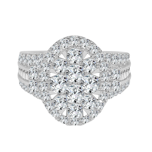 Diamond Oval Cluster Halo Fancy Ring With Baguettes