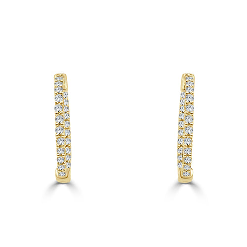 Half Carat Diamond Yellow Gold Inside Out Hoop Earrings