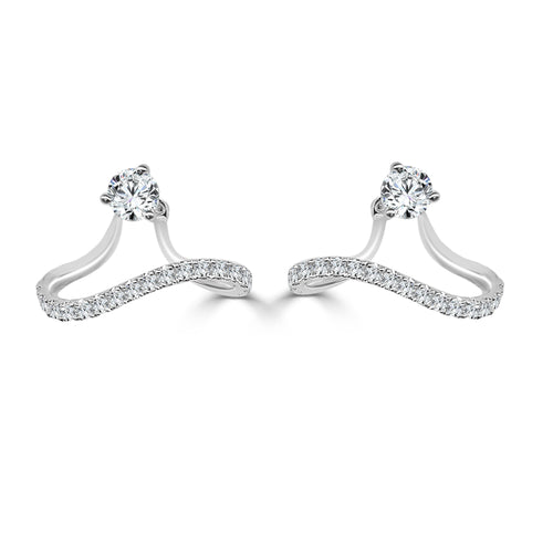 Diamond 0.47 Carat Fancy Waved Earring Jackets