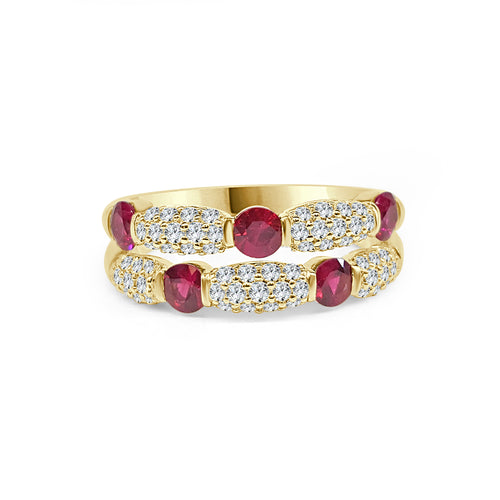 Fana Ruby And Diamond Stack Ring