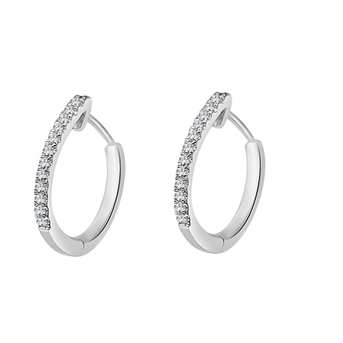 Shy Creations Diamond Hoop Earrings In White Gold